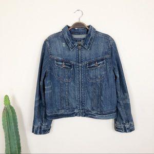 •RALPH LAUREN SPORT•Distressed Zip-up Denim Jacket